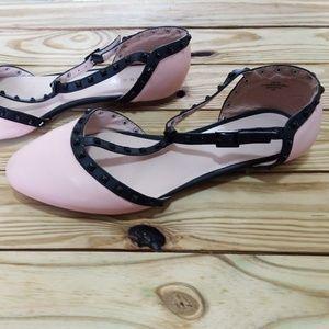 Torrid Embellished T Strap Studded Flats Pink 11W